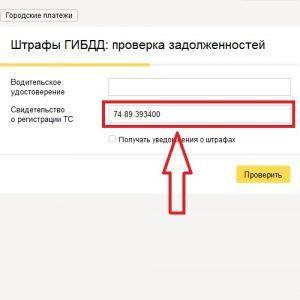 Вводим номер свидетельства о регистрации ТС
