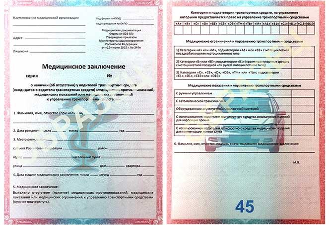 Мед справка водительская 2019 для замены прав купить с доставкой в Протвино