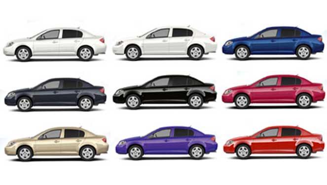 Разная расцветка автомобилей