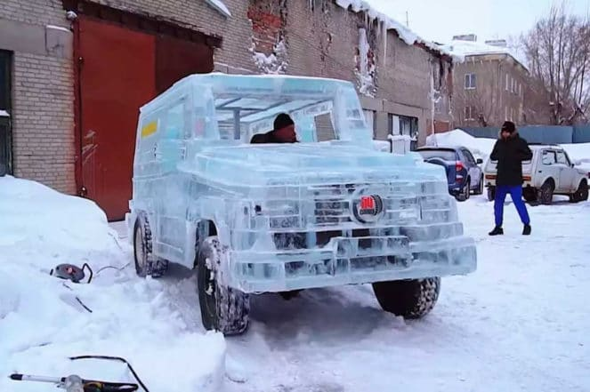 Гелендваген предстал в ледяном кузове
